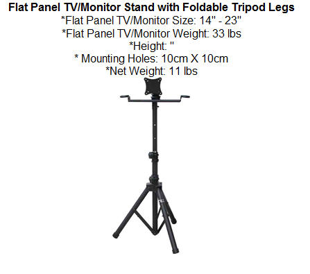 Flat Panel TV/Monitor Stand with Foldable Tripod Legs