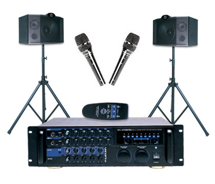 VocoPro VPS-370 200W Digital Key Control Mixing Amp/Vocal Speaker Package